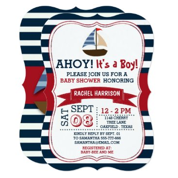 Toddler & Baby themed Ahoy It's A Boy! Nautical Boat Baby Shower Invites
