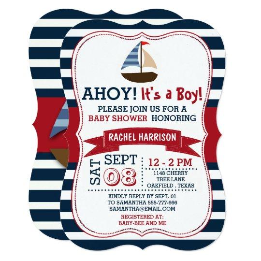 Ahoy Its A Boy Nautical Boat Baby Shower Invites Zazzle