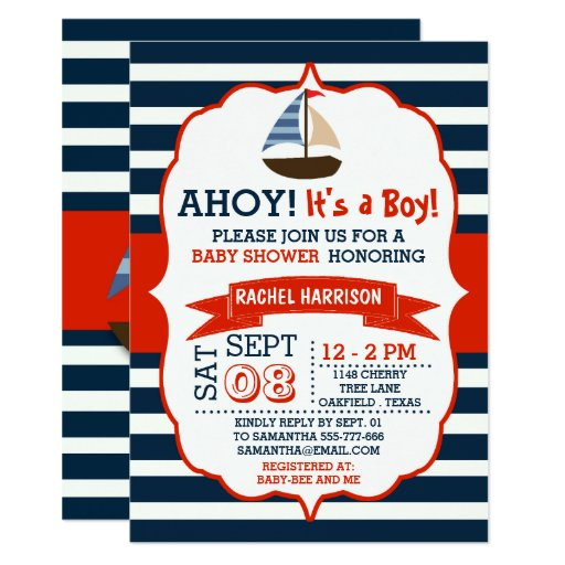 Ahoy It's A Boy! Nautical Boat Baby Shower Invites | Zazzle