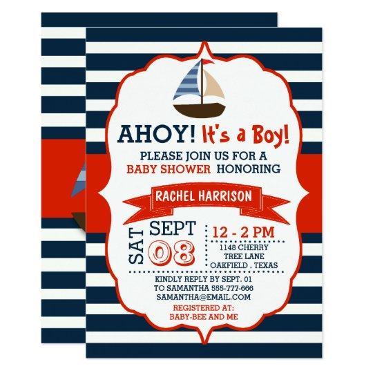 Nautical Baby Shower Invitations & Announcements | Zazzle
