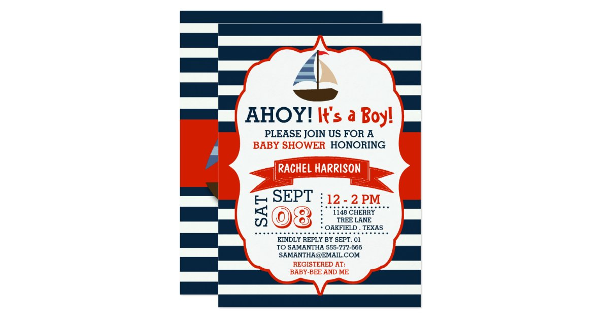 ahoy it 39 s a boy nautical boat baby shower invites zazzle