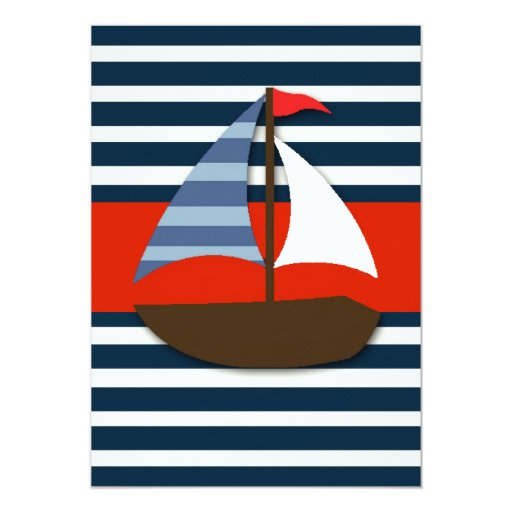 Ahoy It's A Boy! Nautical Boat Baby Shower Invites (back side)