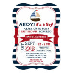 "Ahoy It's A Boy! Nautical Boat Baby Shower Invites 5"" X 7"" Invitation Card"