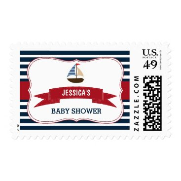 Beach Themed Ahoy It's A Boy! Nautical Boat Baby Shower Postage