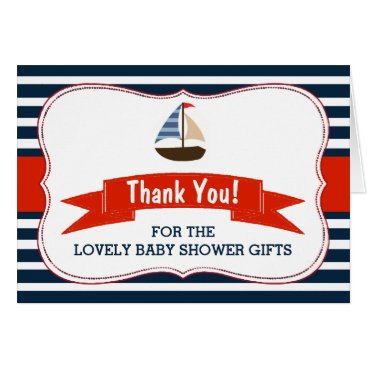 Beach Themed Ahoy It's A Boy! Nautical Boat Baby Shower Thanks Card