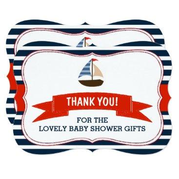 Beach Themed Ahoy It's A Boy! Nautical Boat Baby Shower Thanks Card