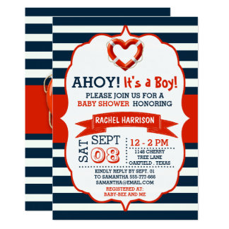 Ahoy It's A Boy! Nautical Buoy Baby Shower Invites