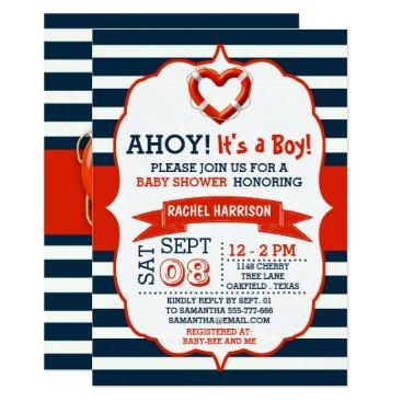 Beach Themed Ahoy It's A Boy! Nautical Buoy Baby Shower Invites