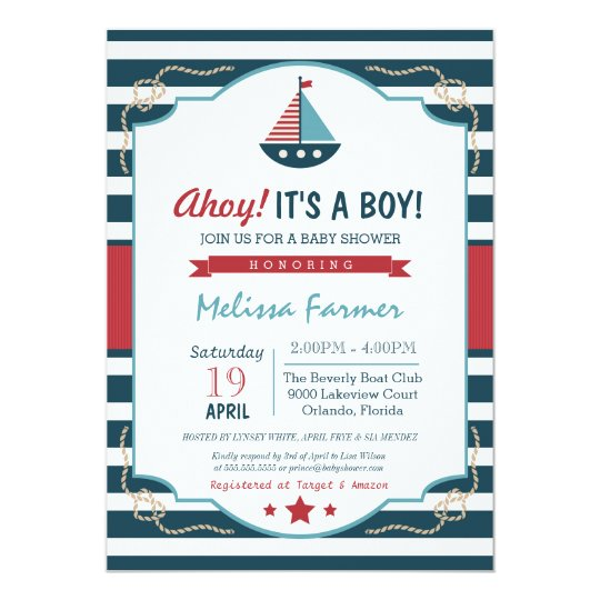 Nautical Navy Red Baby Shower Invitation Zazzle