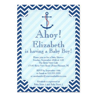Ahoy It's A Boy Nautical Sailboat Boy Baby Shower Card