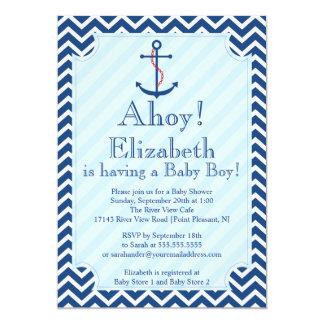 "Ahoy It's A Boy Nautical Sailboat Boy Baby Shower 5"" X 7"" Invitation Card"