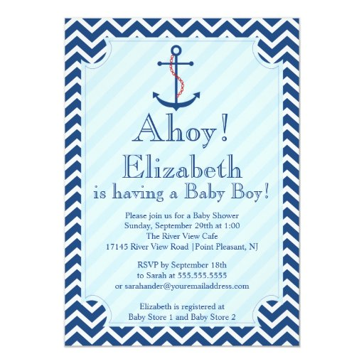 "Ahoy It's A Boy Nautical Sailboat Boy Baby Shower 5"" X 7 ..."