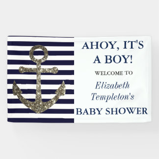 Ahoy It's a Boy Nautical Themed Baby Shower Banner