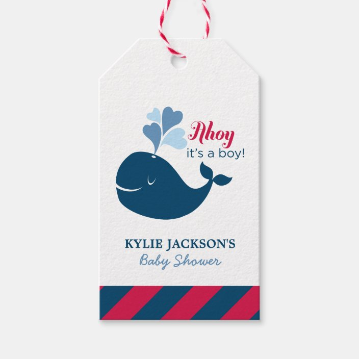 Whale baby shower favor tags Girl baby shower gift tag Ahoy It/'s a boy Boy baby shower favor tags Nautical baby shower thank you tags