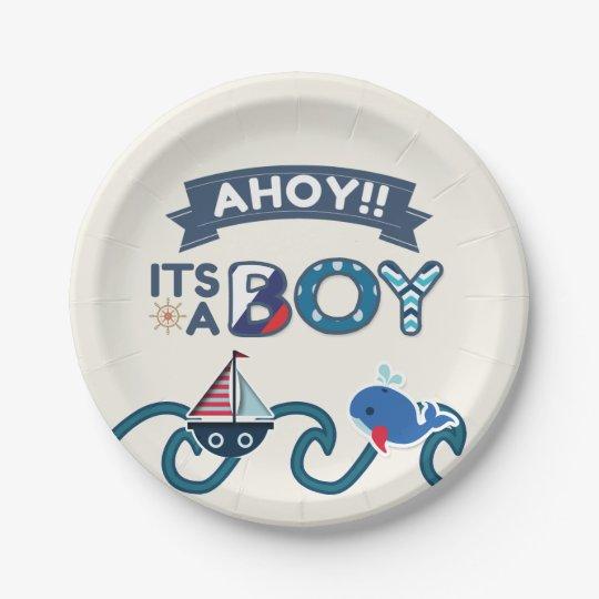 Ahoy Itu0027s A Boy Paper Plates Shower Nautical  sc 1 st  Zazzle & Ahoy Itu0027s A Boy Paper Plates Shower Nautical | Zazzle.com