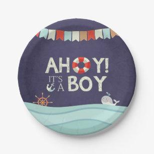 Ahoy It\u0027s A Boy Paper Plates Shower Ocean Nautical  sc 1 st  Zazzle & Nautical Plates | Zazzle