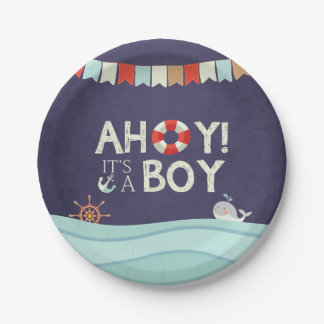 Ahoy It's A Boy Paper Plates Shower Ocean Nautical