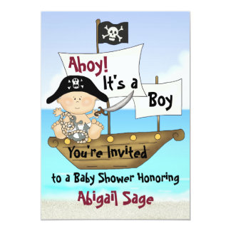 Ahoy! It's a Boy Pirate Buccaneer Baby Shower 5x7 Paper Invitation Card