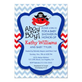 Ahoy It's A Boy - Pirate Crab Boy Baby Shower Card