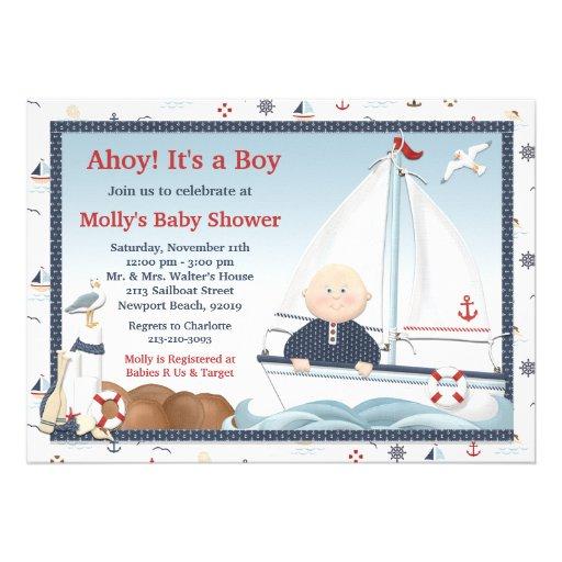 Ahoy Its a Boy Sailboat Baby Shower Invitation  Zazzle