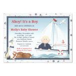 "Ahoy Its a Boy Sailboat Baby Shower Invitation 5"" X 7"" Invitation Card"
