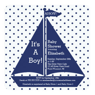 Ahoy!  It's A Boy Sailboat Baby Shower Invitations Personalized Announcements