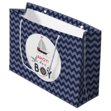 Ahoy! It's A Boy Sailboat Nautical Baby Shower Large Gift Bag