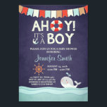 "Ahoy It&#39;s A Boy Shower Invitation Ocean Nautical<br><div class=""desc"">♥ A cute and fun baby shower invite for a little man on his way!</div>"
