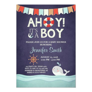 Toddler & Baby themed Ahoy It's A Boy Shower Invitation Ocean Nautical