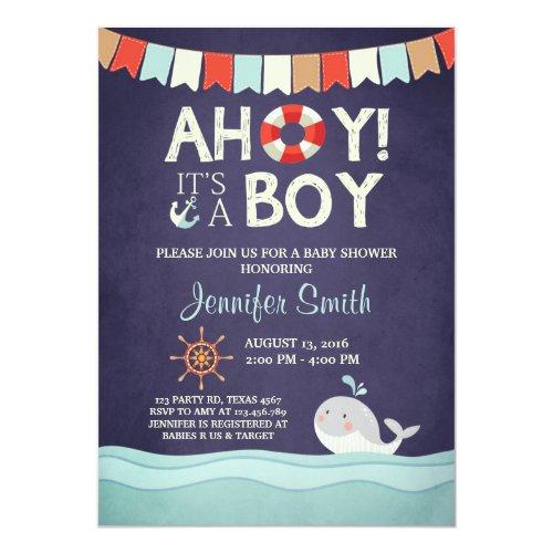 Ahoy Its A Boy Shower Invitation Ocean Nautical