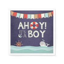 Ahoy It's A Boy Shower Napkins Ocean Nautical Blue