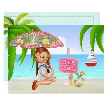 Beach Themed Ahoy It's a Girl Baby Shower Invitation