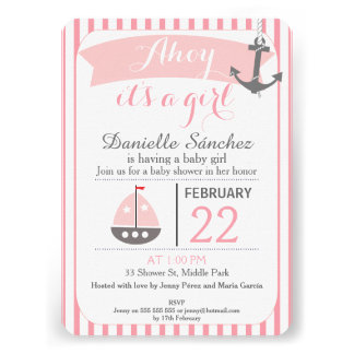 Ahoy It's A Girl Nautical Baby Shower Invitation