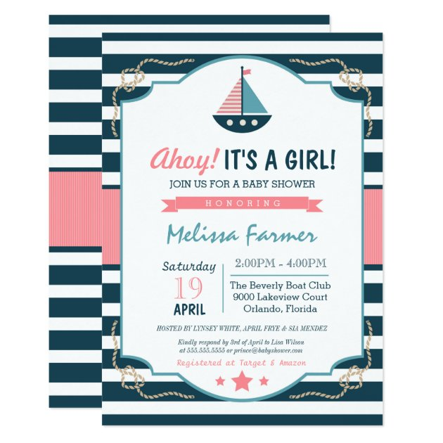 ahoy it's a girl! nautical navy & pink baby shower card   zazzle, Baby shower invitations