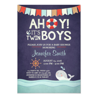Ahoy It's Twin Boys Shower Invitate Ocean Nautical Card