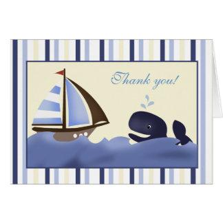 Ahoy la ballena azul del compañero doblada le agra tarjeta pequeña