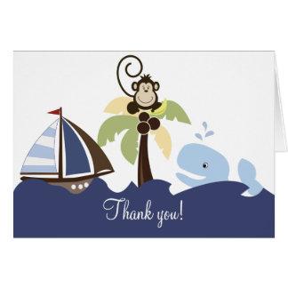 Ahoy la ballena y el mono del compañero le agradec tarjeta pequeña