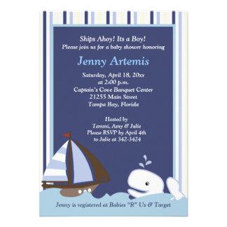 Ahoy la fiesta de bienvenida al bebé de la ballena anuncio personalizado