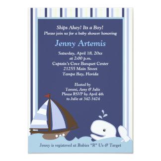 Ahoy la fiesta de bienvenida al bebé de la ballena invitación 11,4 x 15,8 cm