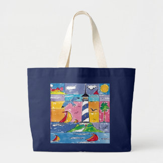 Ahoy! lighthouse tote canvas bags