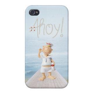 ¡Ahoy! Marinero lindo en paseo marítimo iPhone 4/4S Carcasas