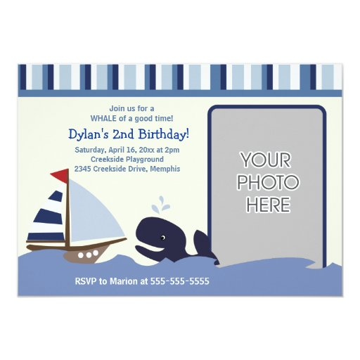 Ahoy Mate 5x7 Birthday Photo Invitation