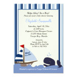 Ahoy Mate Blue Stripe Whale Baby Shower 5x7 5x7 Paper Invitation Card