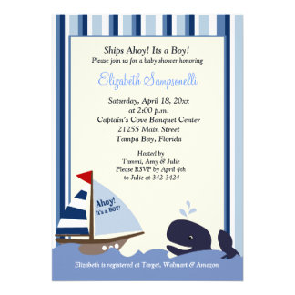 Ahoy Mate Blue Stripe Whale Baby Shower 5x7 Card