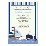 "Ahoy Mate Blue Stripe Whale Baby Shower 5x7 5"" X 7"" Invitation Card"