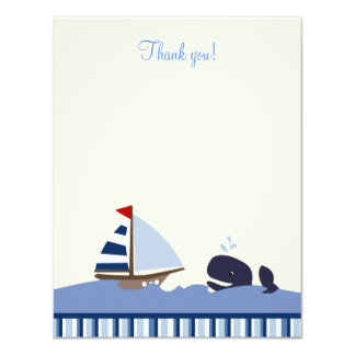 Ahoy Mate Blue Whale 4x5 Flat Thank you note Card