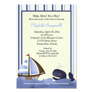Ahoy Mate Blue Whale Baby Shower 5x7 5x7 Paper Invitation Card