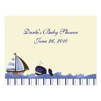 Ahoy Mate Blue Whale Baby Shower Advice Cards