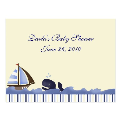 Ahoy Mate Blue Whale Baby Shower Advice Cards Post Card