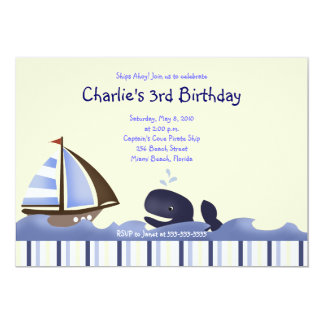 Ahoy Mate Blue Whale Birthday 5x7 Nautical Card